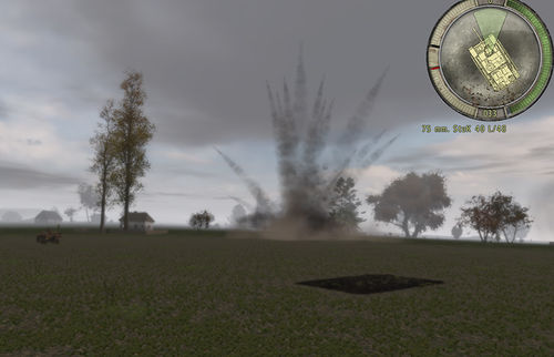 A large-calibre barrage shell explodes on the village green.