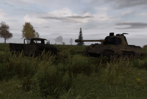 Wreckage on the steppe - Studebaker truck and Tiger.